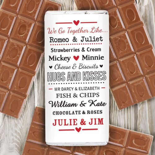 Personalised We Go Together Like Chocolate Bar